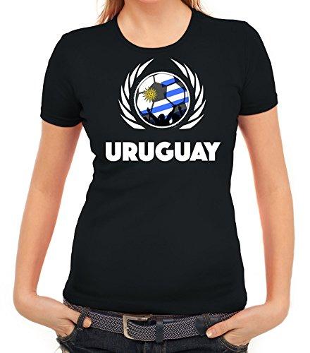 ShirtStreet Wappen Soccer Fussball WM Fanfest Gruppen Fan Wappen Damen T-Shirt Fußball Uruguay Schwarz
