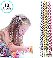18 Pcs Hair Bands for Girl Women,Beautyshow Braided Rubber Hair Band Hair Styling Twister Clip Twist Barrette Spiral Spin Ha