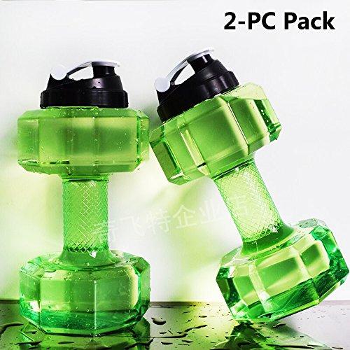QuiFit 2.2Liter Sport trinkflasche Hantel Wasser Flasche großer Kapazität tragbar Wasser Kanister Water Gallon Trinkflasche Flasche,BPA free Kunststoff (2-PC Pack(green))