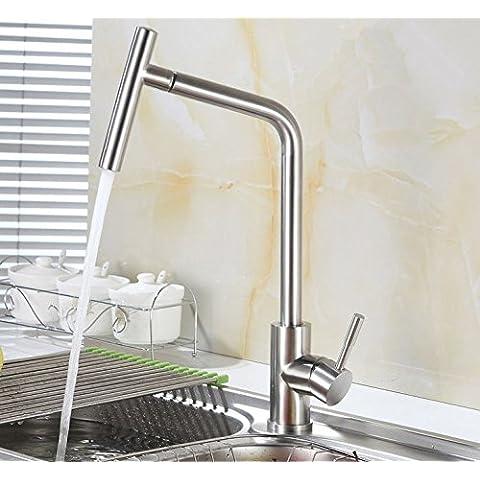 UHM Acciaio Inossidabile304 nichel spazzolato Lavello rubinetto a caldo a freddo lavare rubinetto miscelatore