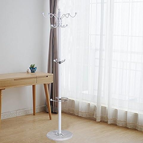 Costway Coat Hanger Hall Storage Rack Umbrella Clothes Holder Hat Hook Tree Stand Metal (White)
