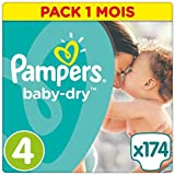 Pampers - Baby Dry - Couches Taille 4 (8-16 kg/Maxi) - Pack économique 1 Mois de Consommation (x174 Couches)