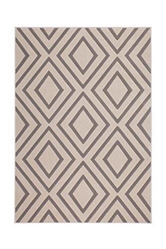 Teppich Wohnzimmer Carpet Geometrie Design Lina 500 Rug Rauten Muster Polypropylen 80x150 cm Braun/Teppiche günstig online kaufen