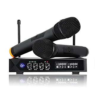 Wireless Microphones Karaoke Bluetooth 4.1, LESHP S9-UHF Wireless Microphone System Professional with LCD Display Dual Handheld Mic for Karaoke Party Meeting Singing Church