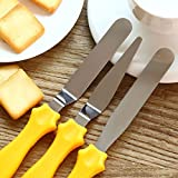 3-in-1 Multi-Function Stainless Steel Cake Icing Spatula Knife Set, 3-Pieces,Mixed Colors Multicoloured