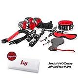 Intimate Melody® Bondage Set per coppie/fesseln & Bondage/Manette Manette + Piedi + frusta di cuoio + pinza + Knebel + benda sull' occhio, ecc. immagine