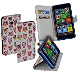 yayago Deluxe Tasche Eule Book Style Hülle für Microsoft Lumia 640 / 640 Dual / 640 LTE / 640 LTE Dual Weiß