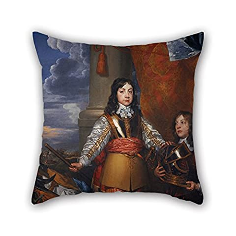 Risee Peinture à l'huile William Dobson–Charles II, 1630–1685. King of Scots 1649–1685. Roi d'Angleterre et d'Irlande 1660–1685(lorsqu'il est Prince de Galles, avec une page) Couvre-lit Taie d'oreiller 45,7x 45,7cm