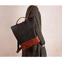 Rucksack aus Leder, Diebstahlsicherung, schwarzer und brauner Rucksack, handgefertigter Rucksack, sicherer Rucksack