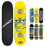 Osprey Skateboard Double Kick 31 pollici per principianti e aspiranti skater - Tavola in legno d'acero- Adatto per bambini e ragazzi fino a 50 kg - Disponibile in disegni e colori diversi