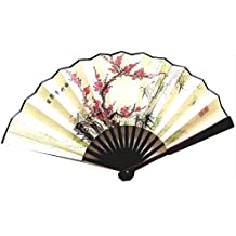 F-LC-Chinese Thin Silk Folding Hand Fan with Oriental Patterns on-Cherry & Bamboo