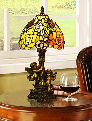 Tiffany Rose Tischlampe, Angel Vintage Nachttischlampe, Barock Coffee Shop Western Restaurant Farbige Glas Tischlampe