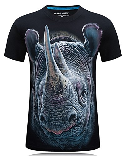 Angcoco Men's Short Sleeve Professional 3D Digital Print T Shirts Rhinoceros Black