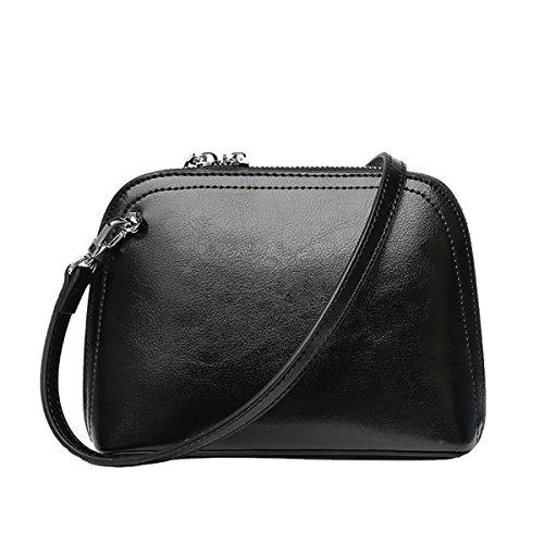 Valin Q0897 Damen Leder Handtaschen Satchel Tote Taschen Schultertaschen Schwarz