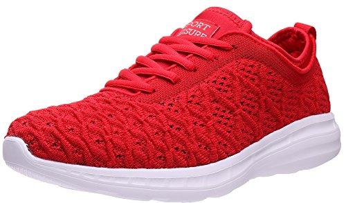 SEECEE Damen Turnschuhe Sneaker Mode Dämpfung Laufschuhe Für Frauen Leicht Sportschuhe Freizeitschuhe Atmungsaktiv Fitnessstudio Schuhe Rot 41 EU