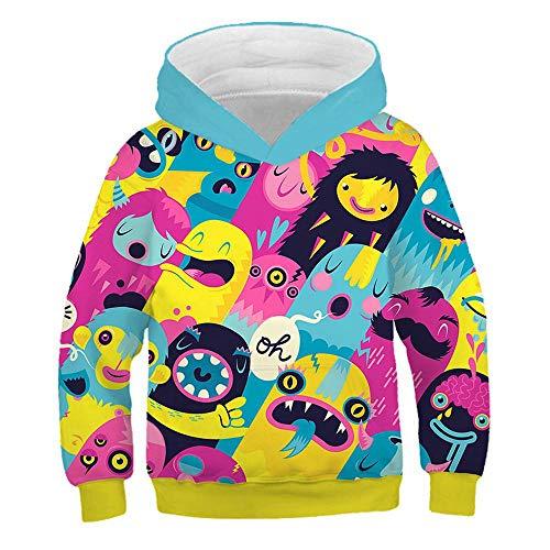 Mädchen Diablo Kostüm - \t Kinder Hoodies 3D-Druck Cosplay Kapuzenpullis Langarm-Sweatshirts Blue-110