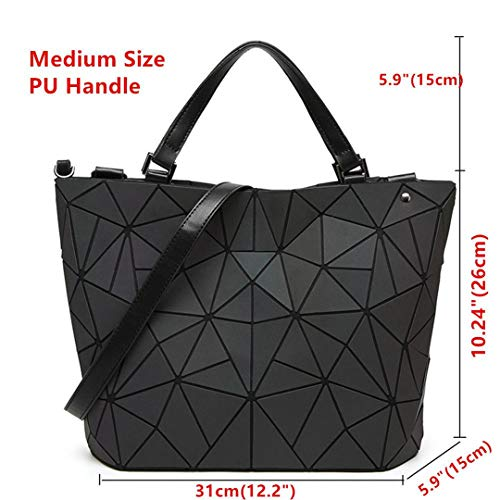 Luminous Women Bags Geometry Laser Folding Frauen Handtaschen Casual Tote Damen Schulter Messenger Bag Weibliche Geldbörsen A Medium - Braune Leder Medium Tote