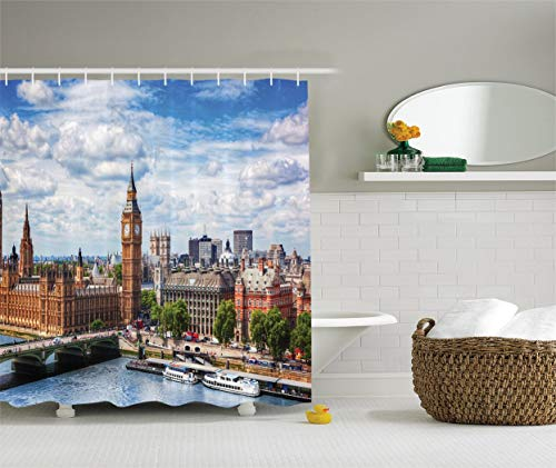 London Decor Collection, Extensive Cityscape with Big Ben, Westminster Bridge on River Thames with Puffy Clouds Picture, Polyester Fabric Bathroom Shower Curtain, White Green Blue 72x72 Inches -