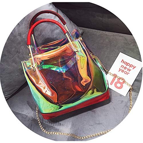 Women Handbag Laser Hologram Leather Shoulder Bag For Lady Single Large Capacity Casual Tote Satchel Bag Chain Bag,Red