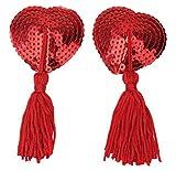 Mangotree Damen Sexy Herzförmige Pasties Pailletten Quasten Nippelabdeckung Getarnte Nipple Cover Aufkleber Silikon-BH (One size, Rot)
