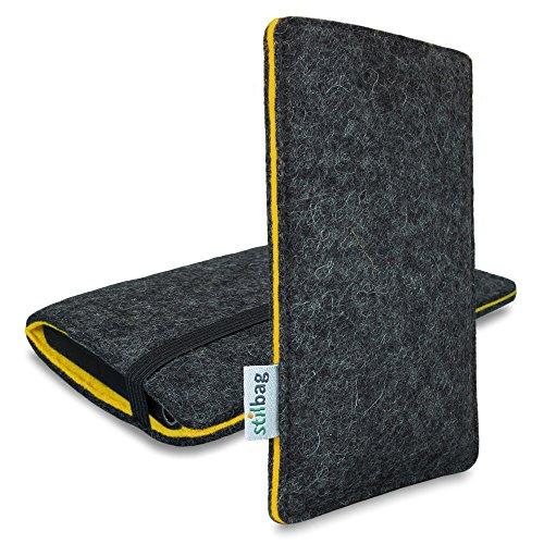 Stilbag Filztasche 'FINN' für Apple iPhone 7 - Farbe: anthrazit/gelb