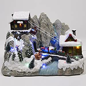 Lumineo village de noel illumine avec telepherique for Decoration de noel amazon