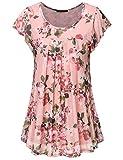 Vafoly Kurzarm Tunika Damen, Sommer Oberteile für Frauen Bequemer Schnitt Schick Kurzarm Blumen Arbeit Kleiden Locker Shirt Bluse Pink M