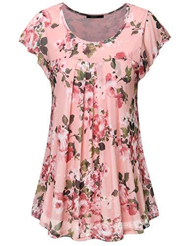 Vafoly Damen Oberteile, Damen Trendy Kurzarm Fließend Mesh Boutique Top Weich Flatternd Casual Lose Luftige Büro Tunika Shirt Pink L -