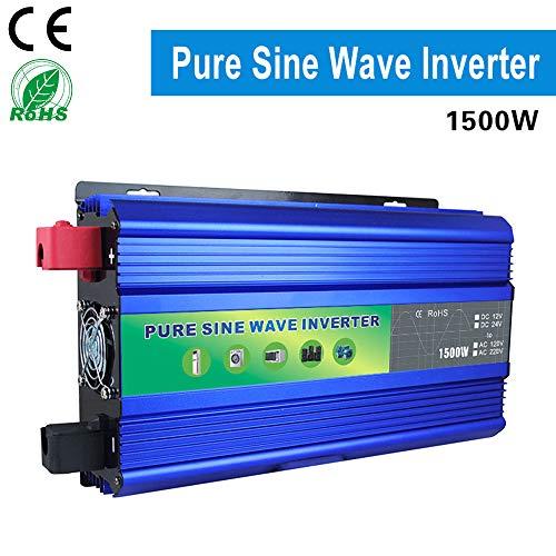 DOLPHINEGG 1500W Watt Power Wechselrichter mit Digital Display DC 12V/48V bis AC 220V Reiner Sinuswellenwechselrichter, blau,DC48VTOAC220V