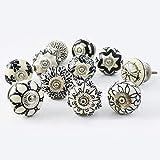 Set van 10 zwarte en witte keramische knoppen kabinet handgrepen keuken trekt lade trekker door KNOBSWORLD