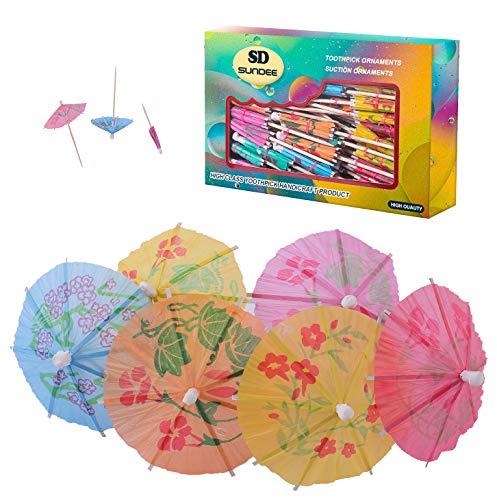 Cocktail-Regenschirme, 10,2 cm, bunt, Cocktail, Strand, Party, Regenschirme, Papierschirm, Sonnenschirm, Cocktail-Picks für Getränke und Partys, 144 Stück