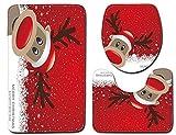 Sodhue Weihnachten Dekoration Teppich Badematten Set 3tlg WC Vorleger 45x75cm Badematte 50x80cm – Rutschfest waschbar Duschvorleger Badvorleger