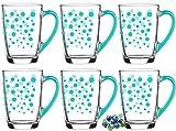 Set di 6 bicchieri da caffè con manico colorato, in vetro, 300 ml, Latte Macchiato Cappuccino, Set di 6 turchesi a pois