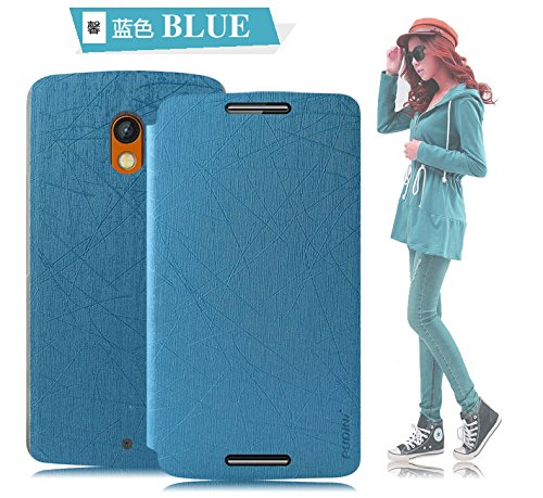 Tarkan Pudini Rain PU Leather Slim Flip Cover Case with Convertible Back Stand for Moto X Play (Blue)  available at amazon for Rs.229