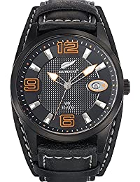 All Blacks - 680297 - Montre Homme - Quartz Analogique - Cadran Noir - Bracelet Cuir Bicolore