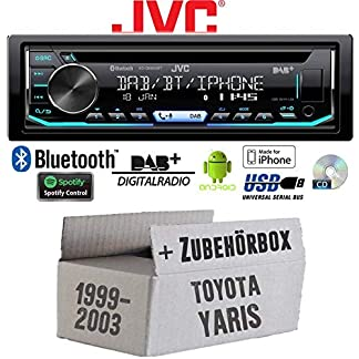 Toyota-Yaris-P1-1999-2003-Autoradio-Radio-JVC-KD-DB902BT-Bluetooth-DAB-CD-Spotify-USB-Android-iPhone-Einbauzubehr-Einbauset