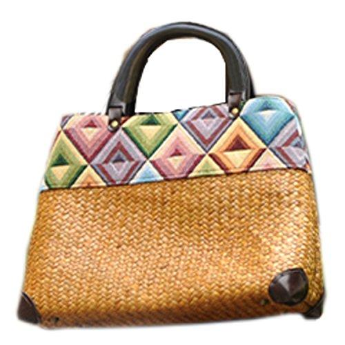 broderie à la main en tricot / armure toile de sac à main de bambou rotin paille / sacoche / Sacs portés épaule / Sacs portés main pattern 2 type jaune