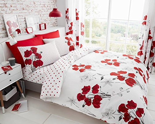 LnB Poppy Red Poly Cotton Printed Bedding Set/Duvet Cover With Matching Pillow Cases Available In All Sizes (King)