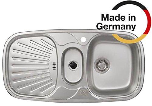 Rieber Einbauspüle Samba Nova Edelstahl Küchenspüle MADE IN GERMANY 980x500 mm 1,5 Becken mit Abtropffläche Spülbecken glatt langlebig und rostfrei Pflegeleicht robust Unterschrank 60 cm