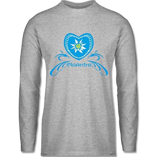 Oktoberfest Herren - Oktoberfest - Herz mit Edelweiss - Longsleeve / langärmeliges T-Shirt für Herren Grau Meliert