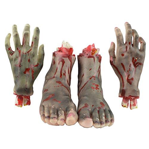 Amosfun 4 Stücke Gehackte Menschenteile Terror Requisiten Gebrochenen Hand Fuß für Halloween Halloween Aprilscherz Kinder Party Dekoration (Schwarz)