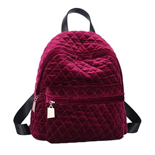 chen Handtaschen Winter Persönlichkeit Rucksack Weiblich Freizeit Einfachheit Bulk Tide Samt Handtaschen,Burgundy-OneSize (Bulk-rucksäcke)