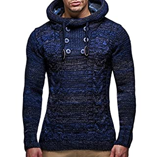 LEIF NELSON Men's Knitted Pullover Sweater Hoodie Jacket Long Sleeve Slim fit L - Blue