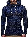 LEIF NELSON Herren Pullover Hoodie Kapuzenpullover Strickpullover Longsleeve Sweater Sweatshirt Pulli LN20227 (Medium, Dunkel Blau)
