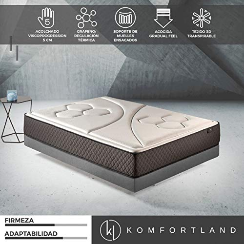 Komfortland Colchón de muelles ensacados Memory Vex Spring con 5 cm de ViscoProgression Grafeno, Altura 27 cm, de 135x190 cm