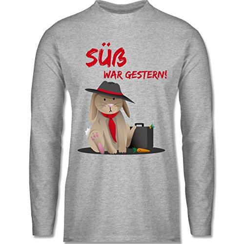 Statement Shirts - Mafia Häschen - Longsleeve / langärmeliges T-Shirt für Herren Grau Meliert