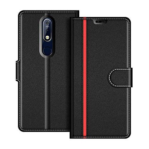coodio Nokia 7.1 Hülle Leder, Nokia 7.1 Lederhülle Ledertasche Wallet Handyhülle Tasche Schutzhülle mit Magnetverschluss/Kartenfächer für Nokia 7.1 / Nokia 7 2018, Schwarz/Rot