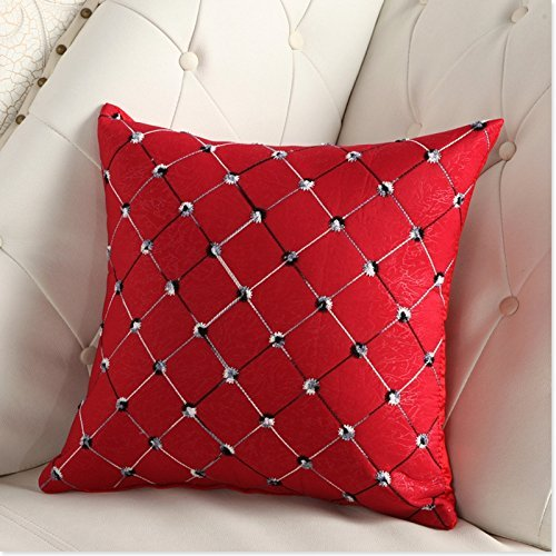 Lanlan Kissen Sofa Bett Decor Plaids Bunte Kissen Fall Rücken der Stuhl (rot 43* 43) (Taufe Seide Taufe Kleid)