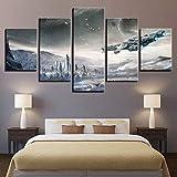 Dmyhope Drucke Auf Leinwand 5 Stück Kombination Star Wars Schlafzimmer Home Modern Wandbild Dekorative Malerei Wandbild Dekor,B,40X60x2+40X80x2+40X100x1