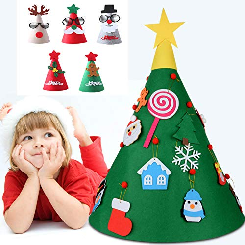 Xueliee 34 Mini-Sisal-Schnee-Frostbäume, Flaschenbürste, Bäume, Kunststoff, Winter, Schnee, Ornamente Tischbäume 3D DIY Felt Christmas Tree (Ornament Christmas Diy)